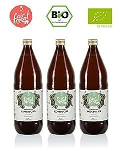 Bio-Kombucha Tee Getränk (3x1 Liter / unpasteurisiert / Grüner Tee / Fermentiert von Fairment®) …