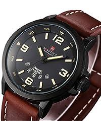 Vestido de los hombres de moda reloj de pulsera con banda de cuero marrón  único Casual analógico cuarzo relojes Classic negocios resistente al… 09b05ca81d9