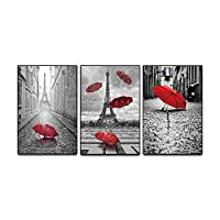 KKZZZ 3 Panels Giclee Canvas Prints Paris Black and White with Eiffel Tower Red Umbrellas Flying Wall Art Landscape Wall Decor Street View Canvas Wall Art Picture - No frame