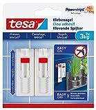 tesa® Verstellbarer Klebenagel für Fliesen und Metall, spurlos wiederablösbar, wiederverwendbar (3 kg / 3er Pack = 6 Nägel)