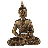 Something Different Large Thai Buddha tealight holder, gold, bronze