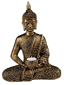 Large Thai Buddha Gold Bronze Tea Light Holder Figurine Ornament