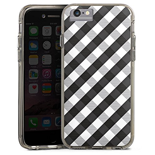Apple iPhone 7 Plus Bumper Hülle Bumper Case Glitzer Hülle Karo Style Schwarz Bumper Case transparent grau