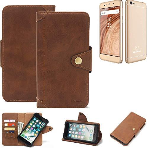 K-S-Trade Handy Hülle für Blaupunkt SL02 Schutzhülle Walletcase Bookstyle Tasche Handyhülle Schutz Case Handytasche Wallet Flipcase Cover PU Braun (1x)
