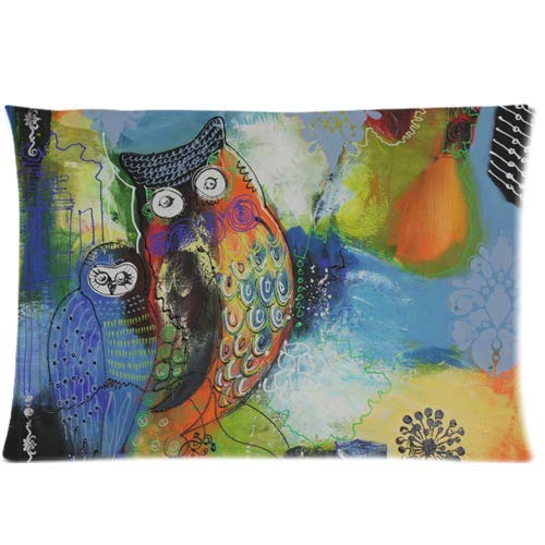 fujianshen Owl Oil Painting Art Custom Zippered Pillow Cases Soft and Confortable 20