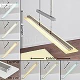 Dimmbare LED Pendelleuchte Junsele aus Metall Nickel - Längliche höhenverstellbare Zimmerlampe für Esszimmer - Wohnzimmer - Schlafzimmer - Lichtfarbe steuerbar durch integrierter Sensorsteuerung