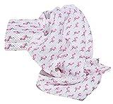 Clevere Kids Mulltücher bunt bedruckt | 3er-Pack | saugstark | Mullwindeln 70x80 cm | OEKO-TEX (Flamingo rosa)