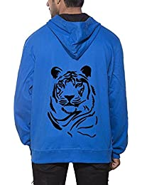 Clifton Men's Printed Sweat Shirt With Hood -Royal Blue -Tiger Face-B