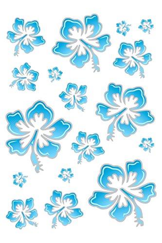 Hibiscus Flower Tattoos (Aufkleber Hibiskusblüten-Set 300 x 200 mm blau/silber ~~~~~ schneller Versand innerhalb 24 Stunden ~~~~~)