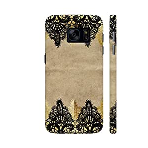 Colorpur Samsung S7 Cover - Vintage Shabby Chic Black Lace On Old Pack Paper Printed Back Case