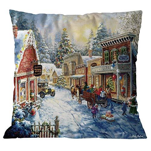 TEBAISE Festival Kissenhülle Kissenbezug 45cmx45cm Dekokissen Fotodruck - Weihnachtsmann-Motiv Karneval Fasching Fasnacht Zierkissenschutzbezüge