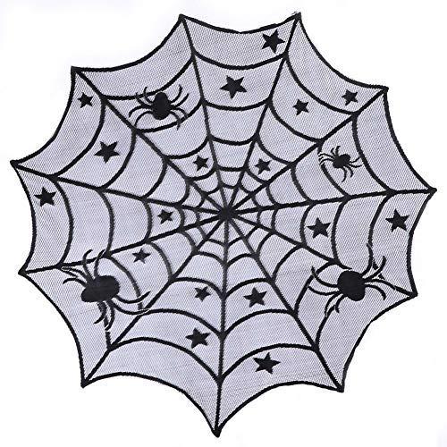 Tischdecke mit Spitze, rund, 101,6 cm, schwarze Spinne, Halloween-Spitze, Tischdecke für Halloween-Dekorationen, Gruselige Filmabende, Party.