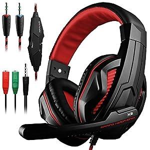 DLAND Gaming Headset, 3,5-mm-Kabel-Bass-Stereo-Geräuschisolation Gaming-Kopfhörer mit Mikrofon für Laptop-Computer, Mobiltelefon, PS4 und so weiter – Lautstärkeregler (Schwarz und Orange)