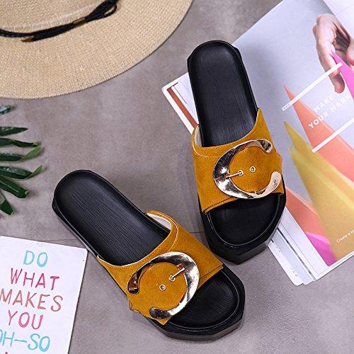 RUGAI-UE Con suole spesse sandali ciabattine Estate Donna Scarpe High-Heeled Pantofole Yellow