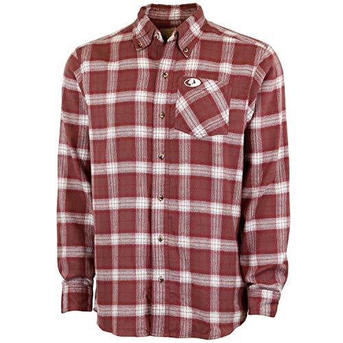 Mossy Oak Herren Flanellhemd Buffalo Plaid, Herren, Men's Buffalo Plaid Flannel Shirt, Maroon Check, Large -