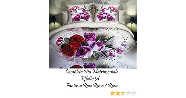 2c8c628685 TrAdE Shop Traesio Completo Letto 3D Lenzuola Matrimoniale sotto sopra  COPRICUSCINI Rose Rosse: Amazon.it: Casa e cucina