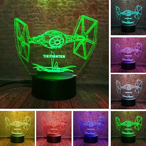 dwqerwre 3D Nachtlampe Cool Star Wars Tie Fighter LED 7 Farbwechsel Nachtlicht Schlafzimmer Weihnachten Halloween Dekor Fans Geschenke
