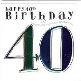 Wendy Jones-Blackett Fresco Glückwunschkarte für den Herrn zum 40. Geburtstag - veredelt durch Prägung und Folienauflage. Zum runden Geburtstag eine hochwertige und originelle Geburtstagskarte, Glückwunschkarte oder Einladungskarte, auch Geschenkgutschein oder Geldgeschenk. WJ146