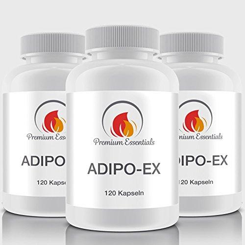 ADIPO-EX   120 Kapseln   HOCHDOSIERT   7 aktive Wirkstoffe für die maximale Fettverbrennung   FATBURNER DER SUPERLATIVE   Mit Capsicum + Chrom + Acetyl-L-Carnitin   THERMO-EFFEKT   FÜR MÄNNER + FRAUEN
