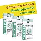 BADERs PROTECT Mundhygiene Kaugummi mit Teebaumöl, Grüntee und Xylit. Antibakterieller Schutz für den Mundraum. Vegan. Vorteilspackung 3 x 16 Stück. Pharmazentralnummer 01677377 Swiss Product.