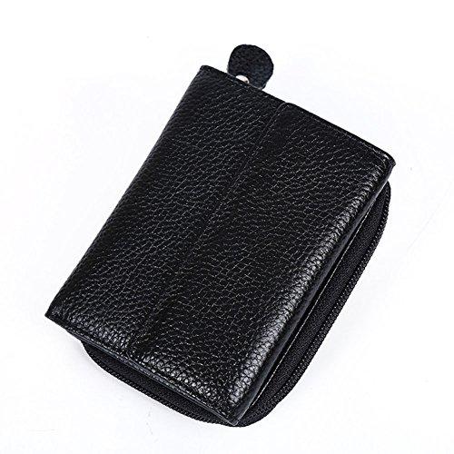 Modelshow Herren Damen Crazy Horse Leder  Reißverschluss mit Reißverschluss Bifold Brieftasche Geldbörse Beutel Tasche (schwarz) schwarz
