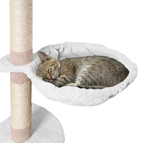Happypet® Liegemulden für Kratzbaum Ø 40 cm großer Durchmesser, Schlafmulde, Stabiler Stahlrahmen, mit weichem Plüsch bezogen, Zubehör für Katzen, Ersatzteil, Liegeplatz, Weiss