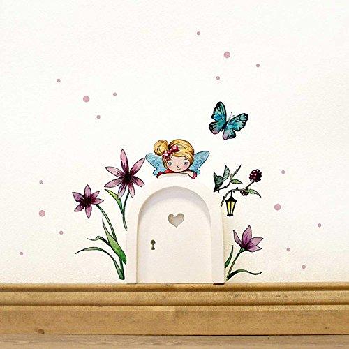 Preisvergleich Produktbild ilka parey wandtattoo-welt® Elfentür Feentür Wichteltür mit Wandtattoo Aufkleber Sticker kleine Elfe Fee mit Blumen Schmetterling und Punkten e08 - ausgewählte Farbe der Holztür: *lila*