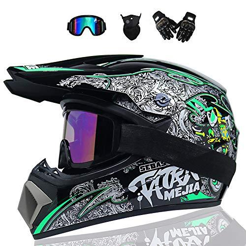 BMAQ Motocross-Helm für Erwachsene Offroad-Motorrad ATV Helm, Crosshelm Motocross mit Brillen Handschuhe Maske, Downhill MTB Racing Schutz Helm Aerodynamisches Design,L(57~58CM)