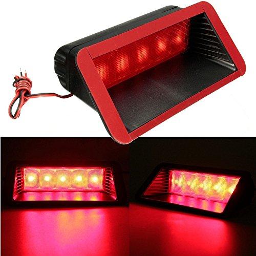 Feu de brouillard universel 12V 5 LED pour voiture, troisième feu stop arrière, rouge