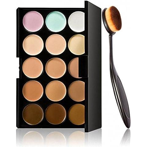 FEITONG Cosmetico di trucco Fard Spazzolino Curve pennello Foundation + 15 colori Concealer