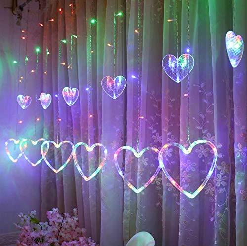 Remote-8-Modus einfache romantische Geständnisszene Layout Plug-in Liebe herzförmige Farbe Vorhang Lichter 6 groß 6 klein -