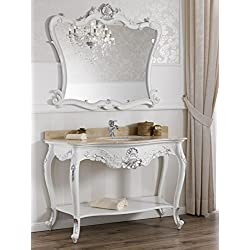 Consola lavabo y espejo estilo barroco moderno blanco lacado detalles hoja plata Mármol Crema