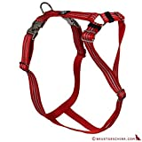 Feltmann Premium Hundegeschirr mit Alu-Max®, Soft- Nylonband, reflex rot, 55-75cm, 20mm