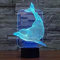 Delfín 3d Illusion lámpara Introdujo Luz nocturna con 7colores intermitente y Touch de interruptor de alimentación USB lámpara de escritorio dormitorio luz lámpara para niños Cumpleaños Regalos Hogar Decoración