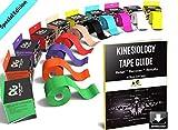 Physix Gear Kinésiologie Tape imperméable, Bandage Médical, Strap en complément de l'Attelle Cheville, K Tape de Strapping sur Les Muscles, Bande de Kinésiologie (1 Bande Bleu 5cm x 5m + e-Guide)
