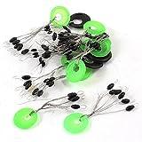 Fishing Bobber Stopper - TOOGOO(R) 15pcs Green+Black Ring 6 in 1 Oval Rubber Float Stop Fishing Stopper