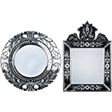 MADHUSUDAN GLASS WORKS Mirror & Plywood Wall Mirror (Pack Of 2, Silver) - B07BJ4KVM8