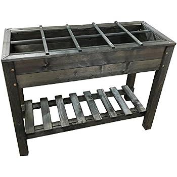 hochbeet aus holz grau hohe standsicherheit mit ablage. Black Bedroom Furniture Sets. Home Design Ideas