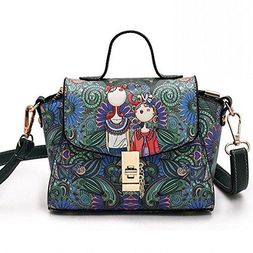Mini Umhängetasche Frauen Handtaschen Mode gedruckt Schultertasche für Mädchen M059DE-Grün klein