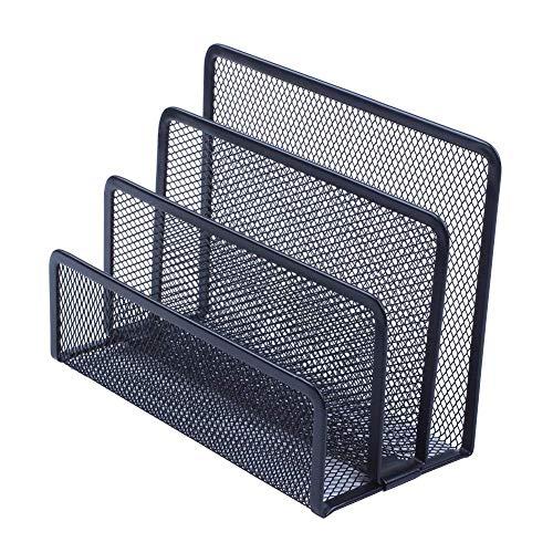 AFDK Scomparti portariviste, Organizer di supporto in metallo mesh per fascicolatore di file per piccoli uffici con 3 scomparti nero verticale destro