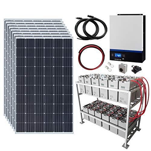 Sistema di alimentazione solare off-grid completo 2,4 kW 48 V con 8 pannelli solari da 300 W, inverter ibrido da 5 kW e batteria esterna da 24 kWh.