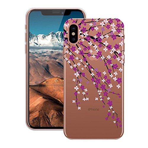 HB-Int Hülle für iPhone X Schutzhülle Transparent mit Plum Blumen Muster Etui Silikon Handyhülle Flexible Slim Case Cover Ultra Dünn Durchsichtige Handytasche Plum Blumen