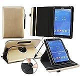 Emartbuy® Alcatel OneTouch Pixi 3 10 Zoll Tablet Universal ( 9 - 10 Zoll ) Metallic Gold Premium PU Leder 360GradRotierendeStandFolioGeldbörseTascheHülle + Schwarz Eingabestift
