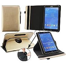 Emartbuy® Onda V919 Air CH Windows Tablet 9.7 Pulgada Universal ( 9 - 10 Pulgada ) Metálico Oro Premium Cuero PU 360 Grados Soporte Giratorio Folio Carcasa Wallet Case + Negro Lápiz Óptico