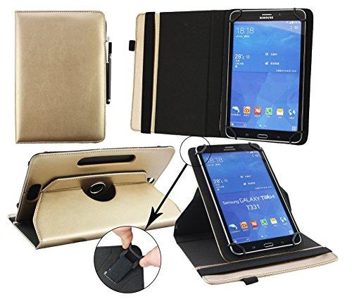 Emartbuy® BigBen Unity Tab 7 Tablet PC 7 Zoll Universal ( 7 - 8 Zoll ) Metallic Gold Premium PU Leder 360GradrotierendeStandFolioGeldbörseTascheHülle + Schwarz Eingabestift