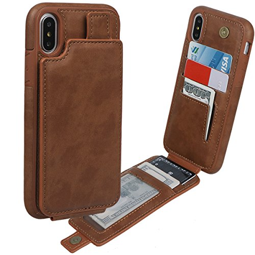 xhorizon Etui portefeuille en cuir de la meilleure qualité de support Vertical haut et bas de fentes de la carte de crédit avec fermeture magnétique pour iPhone X / iPhone 10 Marron