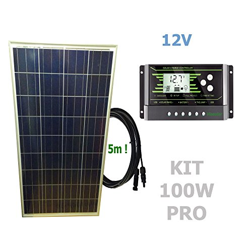 Kit 100W PRO 12V panel solarComposición del Kit Solar:Panel solar fotovoltaico 100W 12V cable 5mRegulador solar de 20A 12V/24V con display y 2 USB LCD VIASOLAR Especificaciones técnicas:Panel solar fotovoltaico 100W 12V cable 5m Cell Size: 156mmx156m...