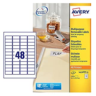 Avery L4736REV-25 Self-Adhesive Removable Mini Labels, 48 Labels Per A4 Sheet - white