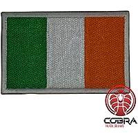 Cobra Tactical Solutions Parche Bordado Parche Militar con Cinta adherente para la Bandera de Airsoft/Paintball Irlanda para Ropa de Mochila táctica.