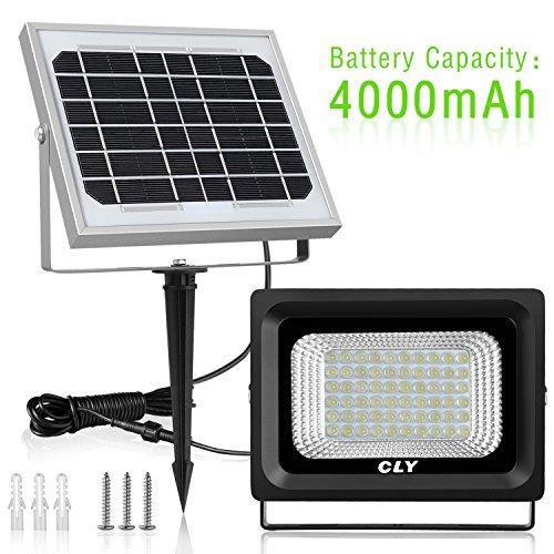 Foco Solar CLY Lámpara Solar 60 LED Luces Solares Exterior IP66 Impermeable 300 LM 6000K Foco Led Exterior para Jardín, Terraza, Cámping